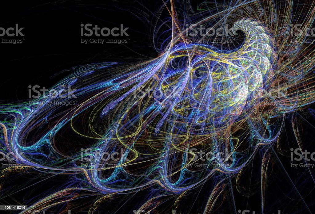 Abstrakte Darstellung der Fraktale spiralförmig auf schwarzem Hintergrund – Foto
