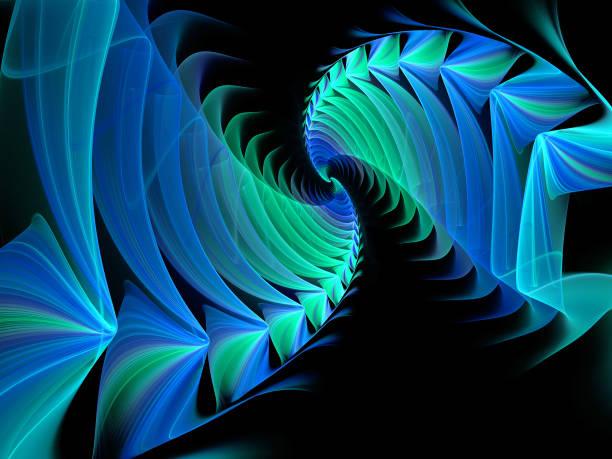 Abstrakte Illustration eines fraktalen Spiralmusters auf schwarzem Hintergrund – Foto