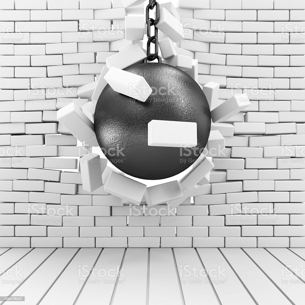Abstract Illustration of Brick Wall Broken by Wrecking Ball stock photo