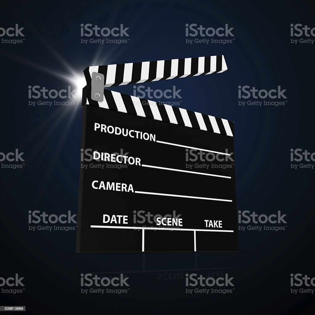 Abstract Illustration of Cinema Clap with Spotlight stock photo