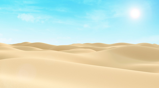 istock Abstract illustration of Desert Sand Dunes at Day with Sunlight 533997009