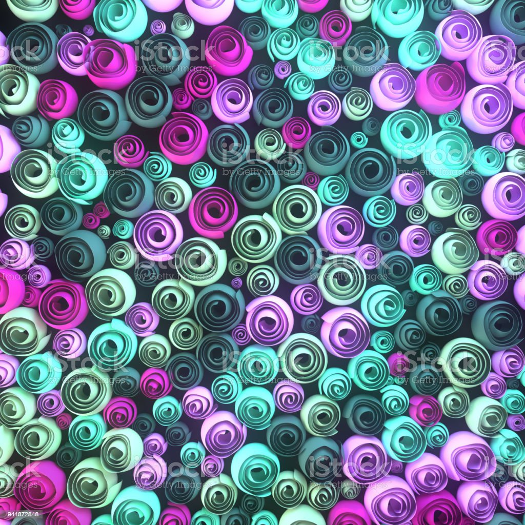 Abstract Illustration Of Papercrafted Quilling Flowers With