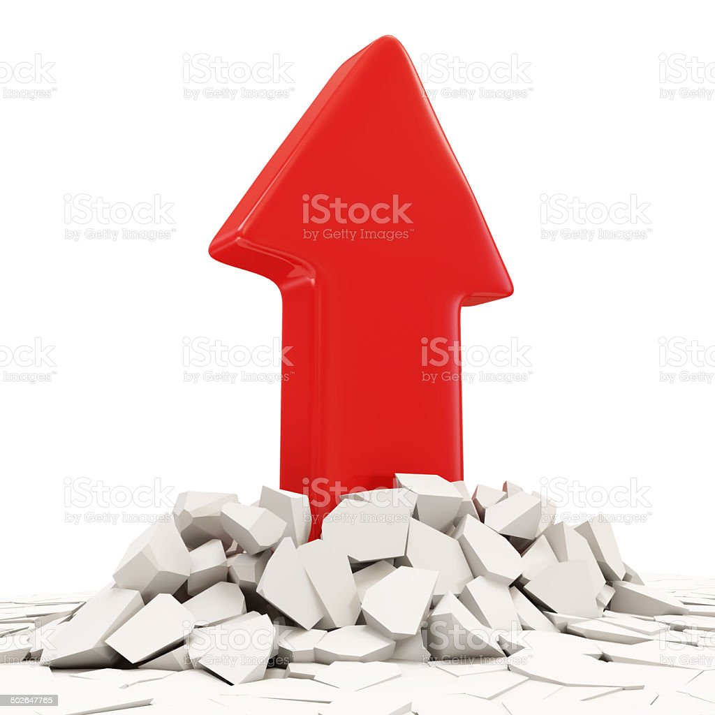 Abstract Illustration of Red Arrow Breaking Through From Floor stock photo