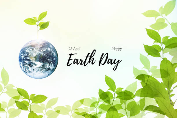 abstract illustration to celebrate 22 april earth day with symbol of beautiful mother earth with growth fresh strong tree nature in summer of environment green  background. - earth day stock pictures, royalty-free photos & images