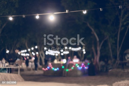istock abstract image blurred defocused background and decoration light christmas celebration hanging on tree 641863996