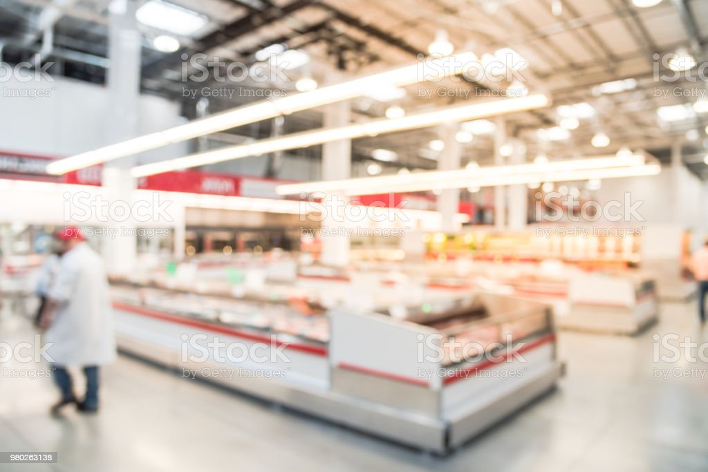 Abstract Image Customers Shopping For Fresh Meat At