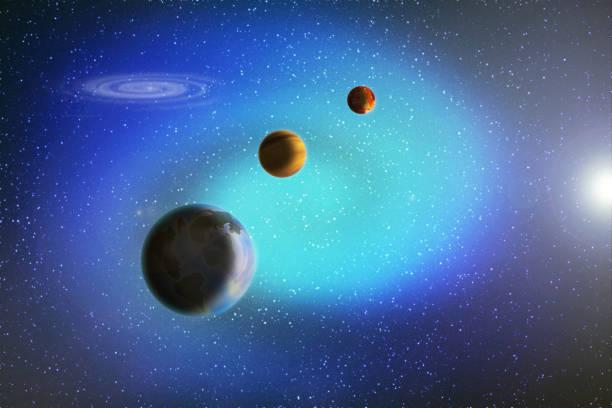 abstract beeld van een parade van planeten in de ruimte onder de sterren en nevels, illustratie. - parallel stockfoto's en -beelden