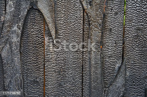 istock Abstract image of a wooden wall that has been completely evenly charred by a fire, as texture or background. 1171716752