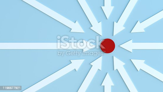 The image of the symbol of determination for their goals. Abstract image of an arrow going towards a target.