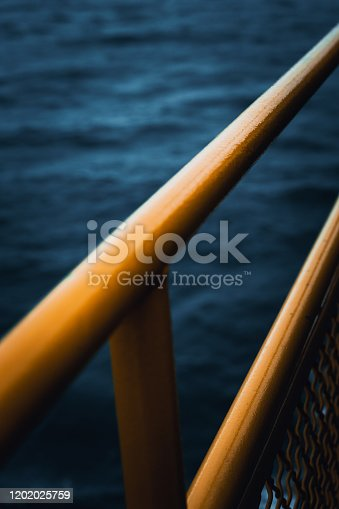 Photograph of steel rails on a boat