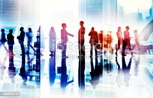 istock Abstract Image of Business Handshake in a Cityscape 488868143
