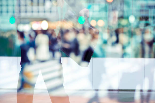abstract image of business man - city walking background foto e immagini stock