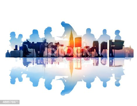 istock Abstract Image of Business Meeting in a Cityscape 488576971