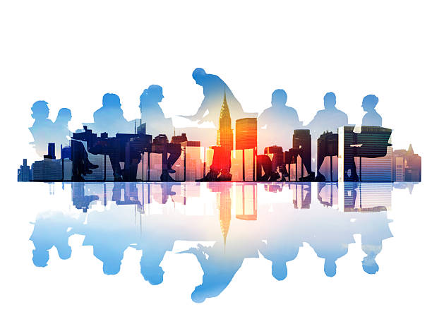 Abstract Image of Business Meeting in a Cityscape Abstract Image of Business Meeting in a Cityscape governing board stock pictures, royalty-free photos & images