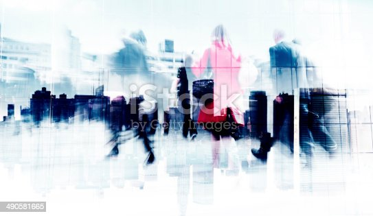 istock Abstract Image of Business People Walking on the Street 490581665