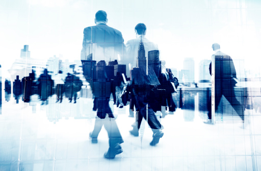 istock Abstract Image of Business People Walking on the Street 490581671