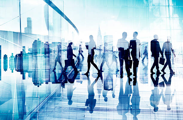 abstract image of business people's busy life - international moving stock photos and pictures
