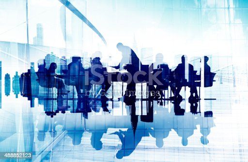 istock Abstract Image of Business People's Silhouettes in a Meeting 488852123