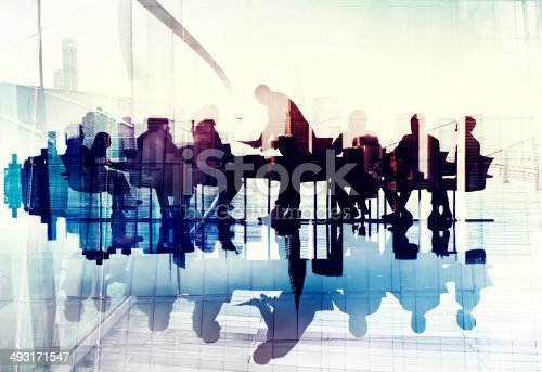 istock Abstract Image of Business People's Silhouettes in a Meeting 493171547