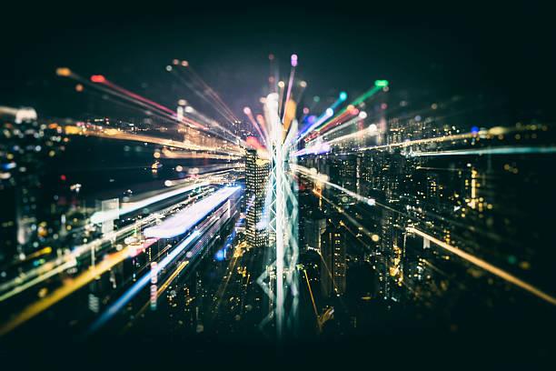 Abstract image of city,hong kong stock photo