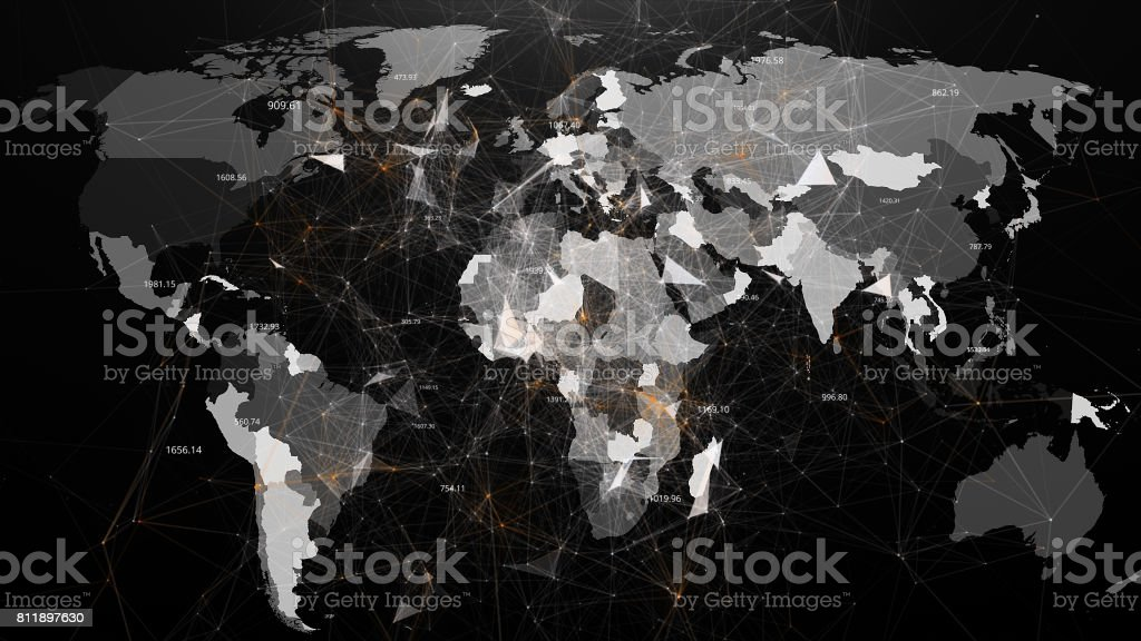 Abstract image of global networks in the world in the form of plexus stock photo