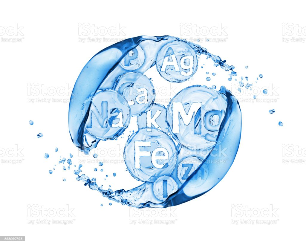 Abstract image of group of chemical minerals and microelements with water splashes stock photo