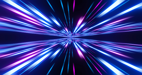 Abstract image of high speed. Pink blue lines composition. Abstract glow neon lines and stripes. Abstract background with flying neon glowing stripes. Motion 3d illustration