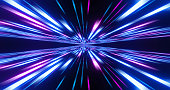 istock Abstract image of high speed. Pink blue lines composition. Abstract glow neon lines and stripes. Abstract background with flying neon glowing stripes. Motion 3d illustration 1225778080