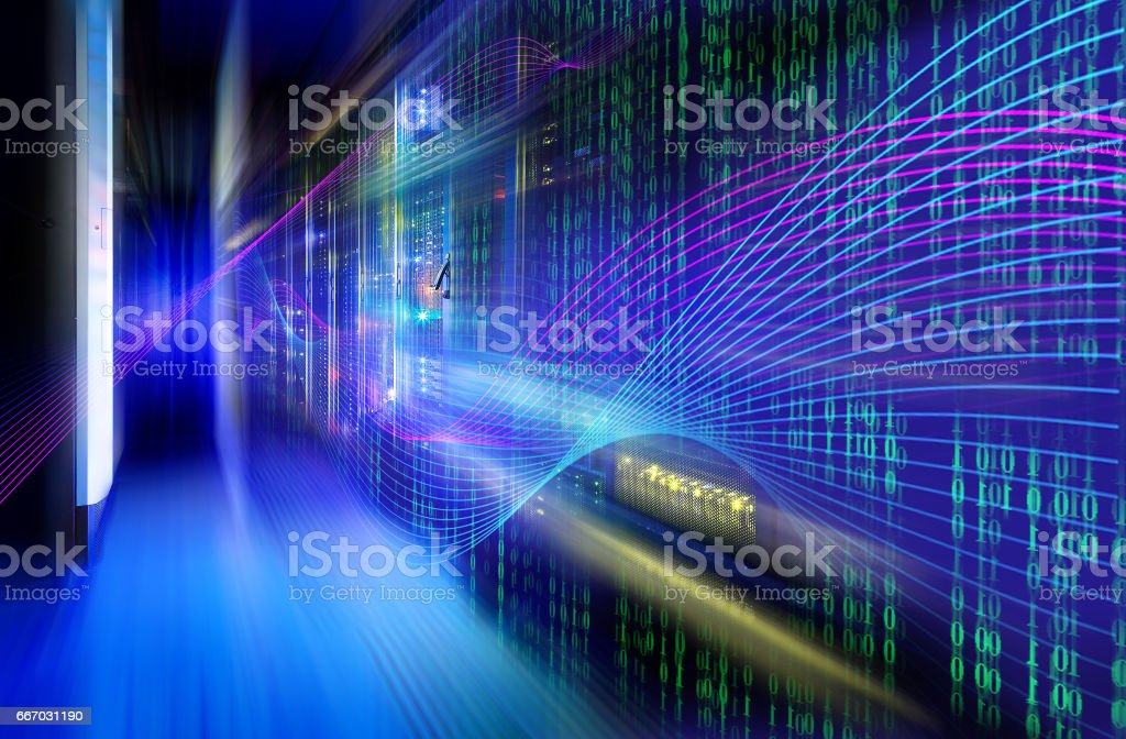 abstract image of Light traces. visualization  hacker attacks on information data server stock photo
