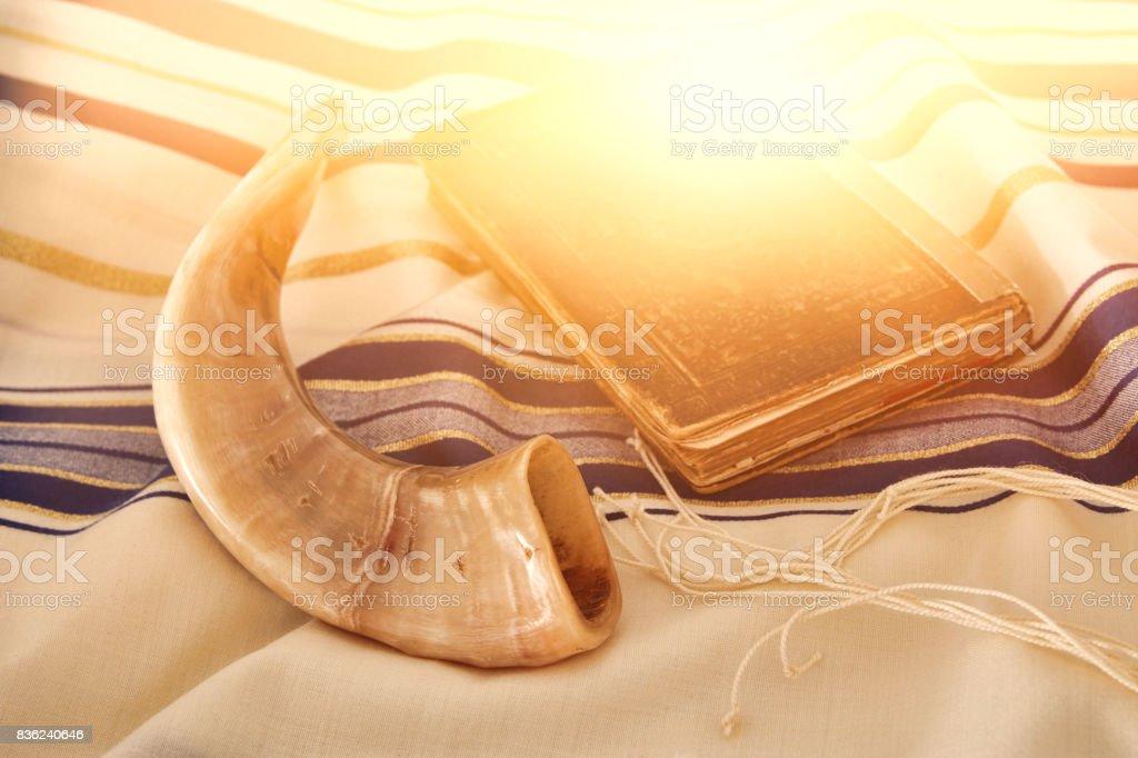 Abstract image of Prayer Shawl - Tallit, jewish religious symbol stock photo