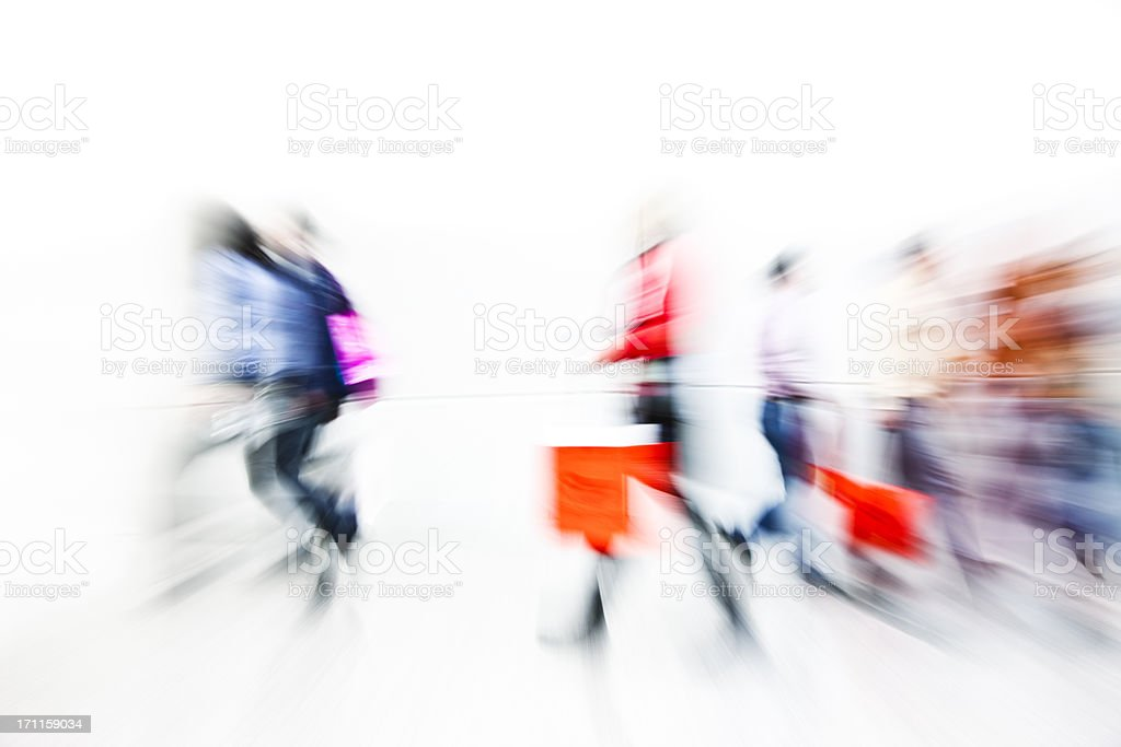Abstract Image of Shoppers With Shopping Bags, Motion Blur royalty-free stock photo
