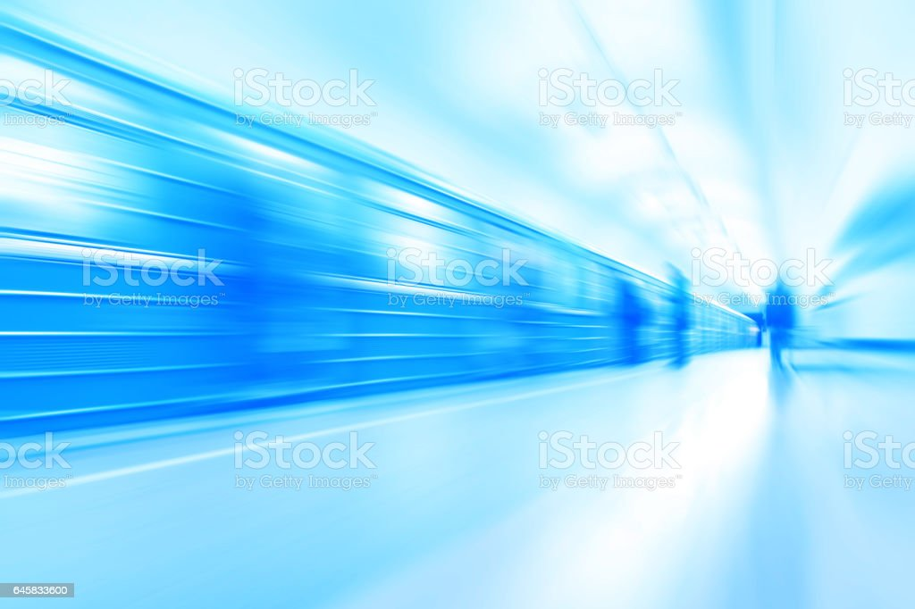 Abstract image of train in motion blur in subway station. stock photo