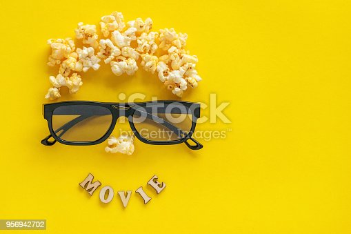 istock Abstract image of viewer, 3D glasses and popcorn,  text