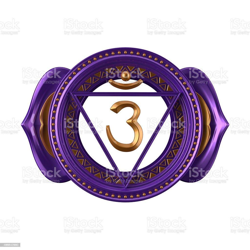 abstract indigo Ajna chakra symbol, 3d modern illustration stock photo
