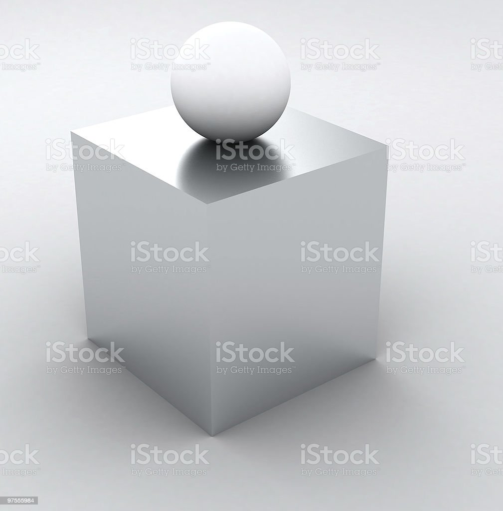Abstract Info Sign 3D - white cube and sphere royalty-free stock photo