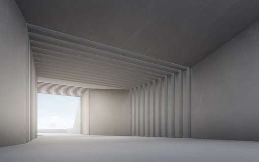 Empty floor and concrete wall with blue sky background.