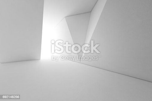 687371974 istock photo Abstract interior design of modern architecture with empty floor and white wall background 692146256
