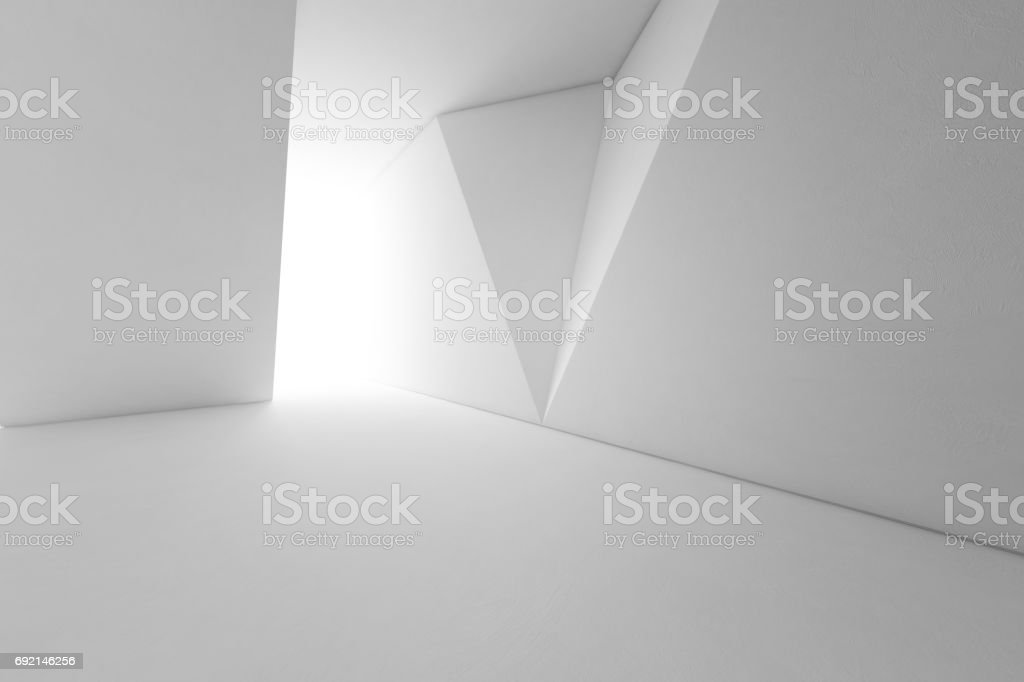 Abstract interior design of modern architecture with empty floor and white wall background stock photo
