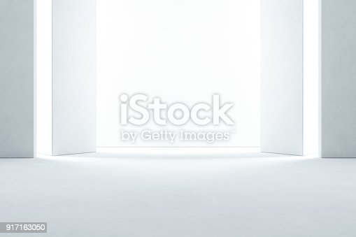 istock Abstract interior design of modern showroom with empty concrete floor and white wall background - Hall or stage 3d illustration 917163050