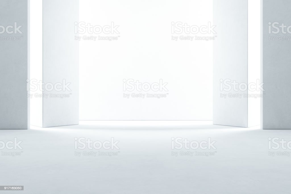 Abstract interior design of modern showroom with empty concrete floor and white wall background - Hall or stage 3d illustration stock photo