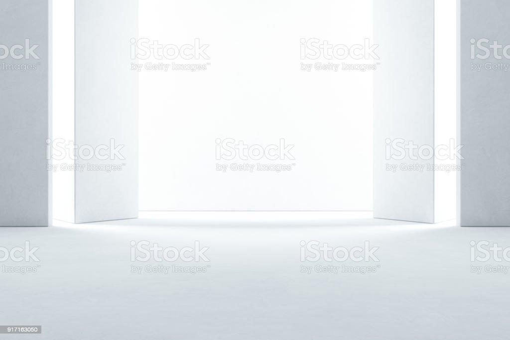 Abstrait design d'intérieur de la salle d'exposition moderne avec sol en béton vide et fond de mur blanc - illustration 3d salle ou stade - Photo