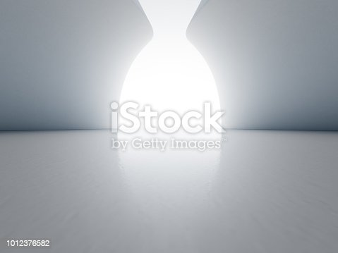 istock Abstract interior design of modern showroom with empty floor and white wall background. 1012376582