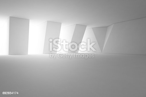 istock Abstract interior design of modern showroom with empty floor and white wall background 692654174