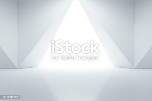 687371974 istock photo Abstract interior design of modern showroom with empty floor and white wall background 697234562