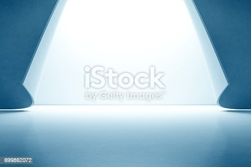 istock Abstract interior design of modern showroom with empty floor and white wall background 699862072