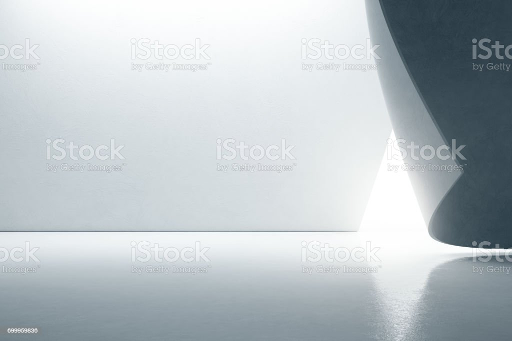 Abstract interior design of modern showroom with empty floor and white wall background stock photo