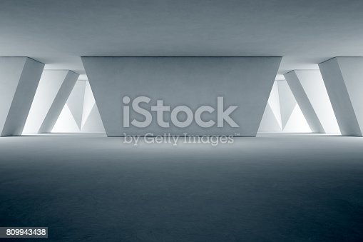 istock Abstract interior design of modern showroom with empty floor and concrete wall background 809943438