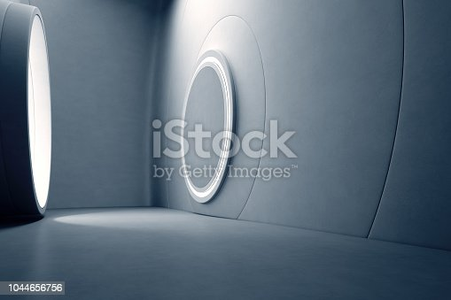 istock Abstract interior design of modern showroom with empty gray concrete floor and dark wall background. Hall or stage 3d illustration. 1044656756