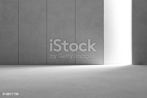 istock Abstract interior design of modern showroom with empty gray concrete floor and dark wall background - Hall or stage 3d illustration 916821736