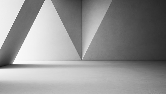 istock Abstract interior design of modern showroom with empty white concrete floor and gray wall background 692409462